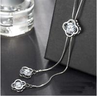 Damen Halskette mit Anhänger Mode Schmuck für Frauen Kette 75cm Silber Collier