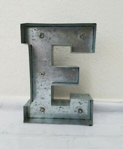 E Letter Silver Steel Monogram Lighted Theater LED Wall Hanging Art Home Decor