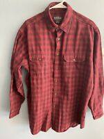 Mens Woolrich Sportsman Thick Heavy Plaid Flannel Shirt Size Large Red And Black