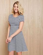 Bravissimo Stripe Ottoman Dress Navy/White Size UK 14 rrp £59 DH083 AC 05