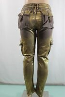 Robin's Jean Real American NEW Women's Stretch Cargo Pants SZ 30 Brown & Gold