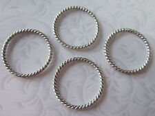20X Tibetan Style Linking Rings Antique Silver Round 30 MM In Diameter Findings