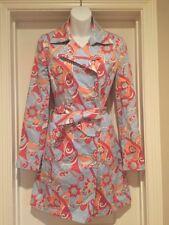 Womens XS Gianni Bini Trench Coat Blue Orange Pink Floral Print