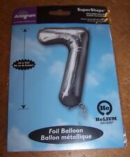 """Anagram Super Shape 34"""" Tall Foil Balloon SILVER Number 7 Birthday Photo Prop"""