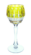 FABERGE XENIA IMPERIAL LIME PARIDO CASED CUT TO CLEAR CRYSTAL WINE GOBLET SIGNED