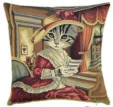 belgian gobelin tapestry cushion cover throw pillow dressed cat with hat playing