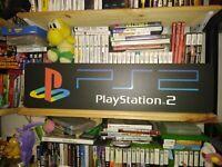 "PS2 Display, PlayStation 2 Aluminum Sign, 6"" x 24""."