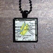 HOWRAH CALCUTTA KOLKATA INDIA ASIA Map Pendant black necklace vntg ATLAS