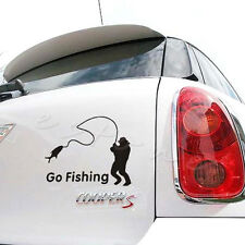 Black Go Fishing Vinyl Car Graphic Reflective Vehicle Sticker Decal Decor Auto