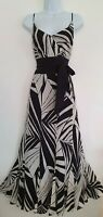Womens Jaeger Black White Stripe Strappy Tie Belt Flippy Silk Maxi Dress 12 Vgc.