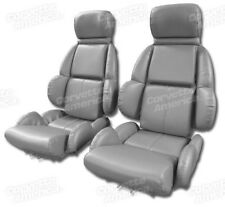1989 Corvette C4 MOUNTED Seat Upholstery Covers GRAY VINYL with FOAM SET NEW