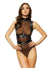 Ann Summers Womens Layla Buckle Body Sheer Mesh Lingerie Underwear Black M