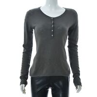 Marc O'Polo lady Womens top Scoop neck quarter button long sleeve t-Shirt Medium