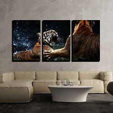 "Wall26 - Tiger Attack to Other Tiger - Canvas Art Wall Decor - 16""x24""x3 Panels"