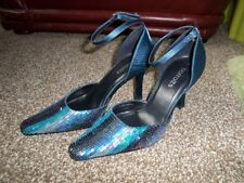 Barratts Blue Embellished D'Orsay Pump High Heel Size 5/38