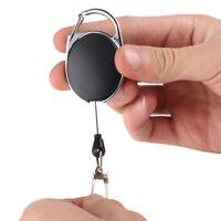 Badge Reel Pull Ring Retractable Key Chain Keyring Heavy Duty Steel Cord Black