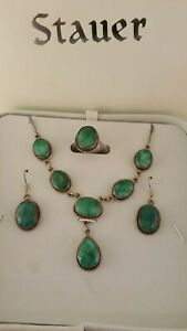 STAUER FACETED GREEN QUARTZ STERLING SILVER NECKLACE EARRINGS RING SET ORIG BOX