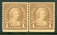 USA 1923 Martha Washington 4¢ Coil Line Pair Perf 10 Scott 601 MNH J31 ⭐⭐⭐⭐⭐