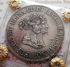 """ITALIAN STATES, LUCCA E PIOMBINO - 5  FRANCHI 1805 """"BUSTI PICCOLI"""" *qSPL* RARA!"""