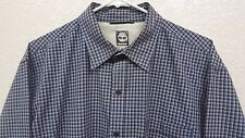 Men's Timberland Blue Black Plaid Checked Button Front Shirt - Large