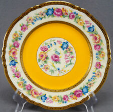 Ahrenfeldt Limoges Dulany Vernay Yellow Floral & Gold Encrusted Plate As Is