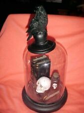 """11"""" GLASS DOME with  SKULL ,BLACK CROW, POISON BOTTLE, BOOKS CURSES POTIONS"""