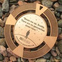 """Beam Me Up, No Geocaches Here! (2.5"""" GeoMedal Geocoin, Ant. Bronze Colour)"""