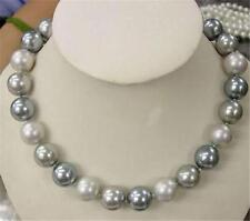 8mm Elegant white Silver Gray Shell Pearl Necklace 18""