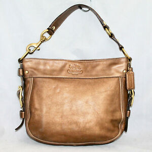 COACH 12671 Zoe Metallic Copper Bronze Leather Hobo  Gold Hdwr Zip Top