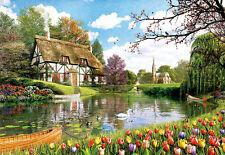 Puzzle cottage en el lago, 6000 piezas, arte, Dominic Davison, naturaleza, flores, educa