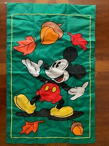 Disney Mickey Mouse Holiday Decorative Indoor/Outdoor Nylon Flags Fall Leaves