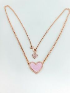 New in Gift Box PANDORA 389279C01 Rose Gold Pink Swirl Heart Collier Necklace