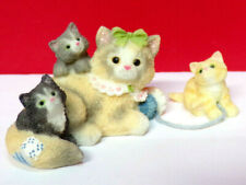 Miniature Calico Kittens Momma and Her 3 Three Kittens Mini Kitty Cat Figurine