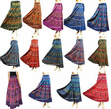 Lot of 10 Indian Women Floral Rapron Printed Cotton Long Wrap Around Skirt AA