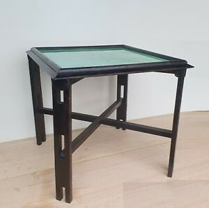 Arts And Crafts / Art Deco Ebonised Oak And Decorative Glass Lamp Table