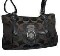 Coach Handbag Campbell Belle Signature Jacquard Shoulder Bag Canvas Leather