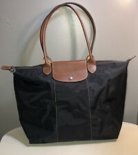 Longchamp Brown Leather Trim Black Nylon Tote