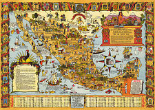 1938 Pictorial Map of Mexico Wall Art Poster Print Decor Vintage History