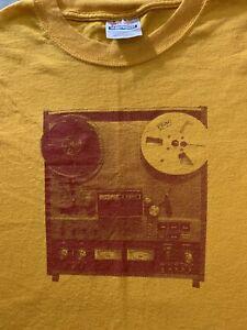 Vintage Teac Reel-to-Reel Tape Recorder T Shirt Mens Yellow XL Analog Audio Moog
