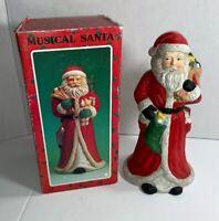 Musical Santa Vintage Ceramic 10 Inches Tall