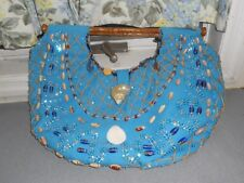 GORGEOUS TURQUOISE  IPA-NIMA SHELL SEQUIN ENCRUSTED CANVAS CARVED WOOD HANDBAG