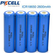 4 x 18650 Lithium Rechargeable Batteries 3.7V 2600mAh Li-ion Button Top PKCELL