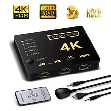 5 Port HDMI Switch Splitter with Remote Control For SKY Q Mini, Chromecast HDTV