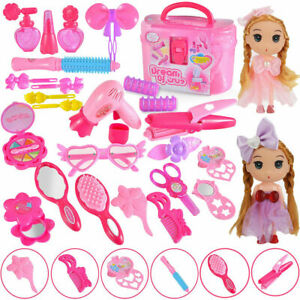 28pcs Kids Pretend Play Makeup Toys Hair Styling Set Child Girl Gift With Dolls