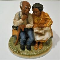 Old People Figurine Statue Sitting On a Bench Looking at a Book HOMCO #8828 EUC