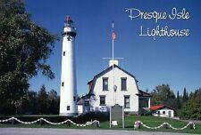 Presque Isle Lighthouse Michigan Lake Huron MI Light Fresnel Lens Flag, Postcard
