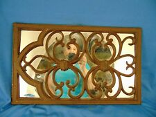 Mirror decorative metal scroll design over mirror wall hanging grate rustic art