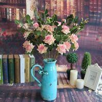 3x Bouquet Artificial Flower Fake Velvet Rose Wedding Valentine Home Decor Party