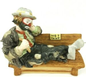 Flambro Clown Figurine Emmett Kelly Jr 1984 COA Wet Paint Hobo Art Vintage
