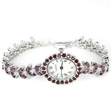 Sterling Silver 925 Genuine Natural Rhodolite Garnet & Zirconia Watch 7.5 Inch
